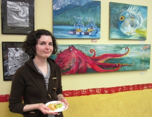 Beautiful co-show-artist Nikki with her sea themed paintings.