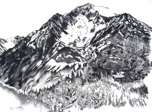 Sheep Mountain, at Mile 20 Seward Highway. Ink on canvas.