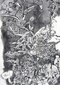 Detail of garden in the Map of Mile 20. Ink on canvas.