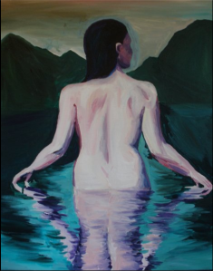 Taking a swim while on a camping trip in one of the out-of-the-way tarns. Acrylic on canvas.