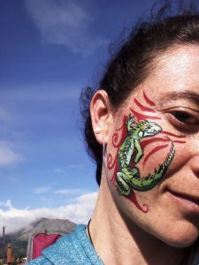 I face painted an iguana on Aubrey on Saturday--it lasted well through the day with only a little smudging during dancing!