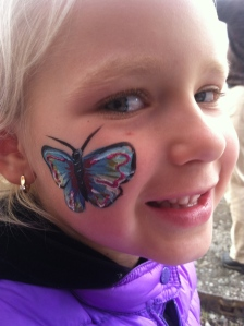 More butterflies. She also got a sloth on  her hand.