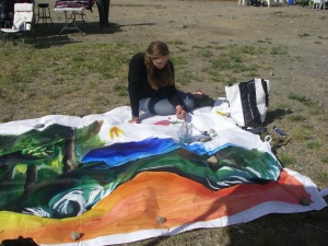 Painting the wall of my tent...