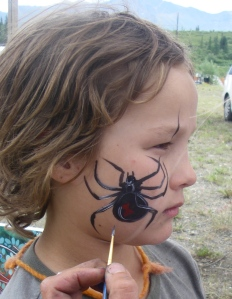 Black widow in face paint. It had a yellow web once it was finished, too.