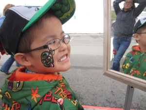 He got a ninja turtle---which matched the one on his sweatshirt!
