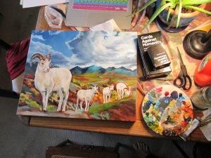 Sarah Glaser Dall Sheep painting Alaska