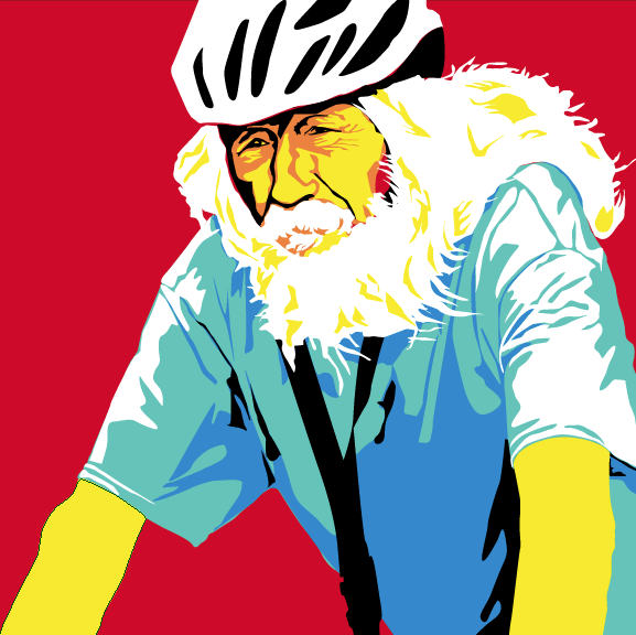 Steve Hiemell. Vector illustration. For Alaska Public Media.