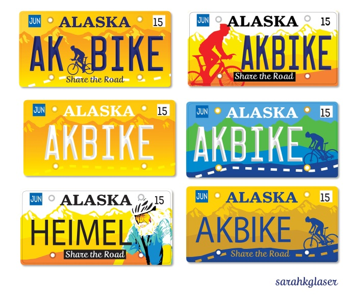 Alaska Share the Road License Plate, designed by Sarah K. Glaser