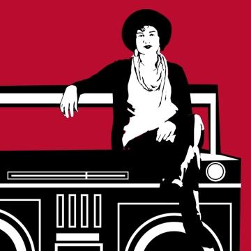 Hannah Yoter sitting on a radio