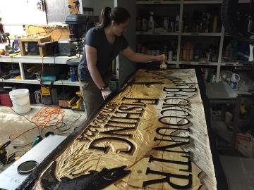 Sarah Glaser's sign for Chugach Backcountry Fishing in Moose Pass, Alaska