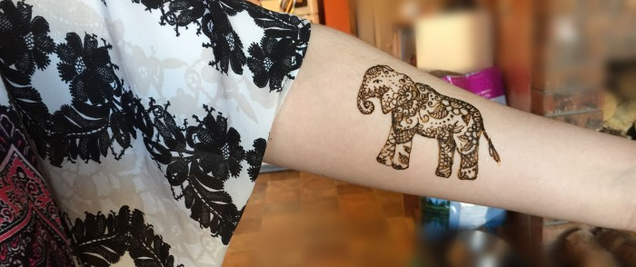 Sarah Glaser arm henna of elephant during Anchorage Alaska birthday party.