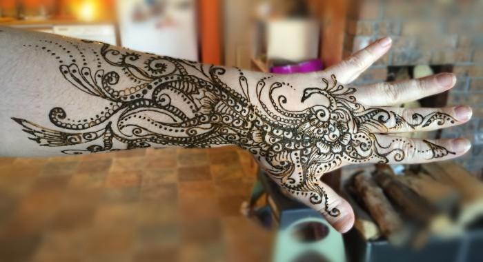 Sarah Glaser arm henna of peacock during Anchorage Alaska birthday party.